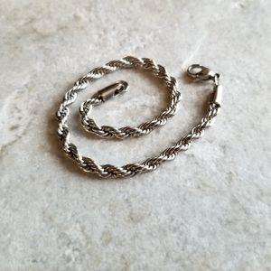 3/$15 Stainless steel rope silver bracelet